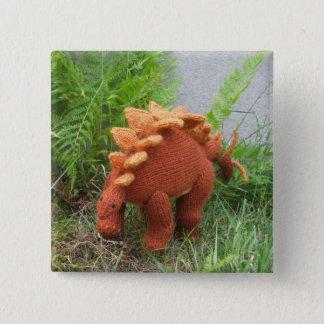 Bóton Quadrado 5.08cm Botão do pino-para trás do Stegosaurus