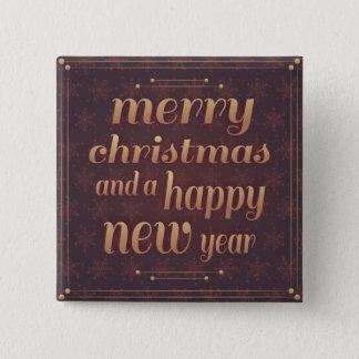 Bóton Quadrado 5.08cm Botão do quadrado do feliz ano novo do Feliz Natal