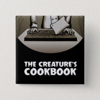 Bóton Quadrado 5.08cm Botão do quadrado do livro de receitas da criatura