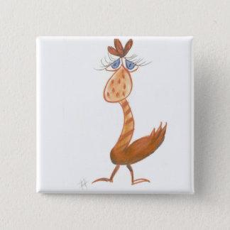 """Bóton Quadrado 5.08cm """"Botão do quadrado do pássaro alaranjado do Dodo"""""""