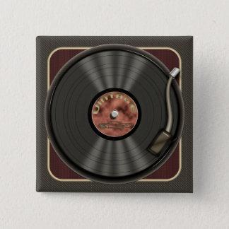 Bóton Quadrado 5.08cm Botão do quadrado do registro de vinil do vintage
