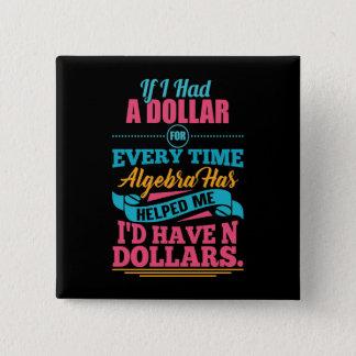 Bóton Quadrado 5.08cm Botão dos dólares da chalaça N da equação da