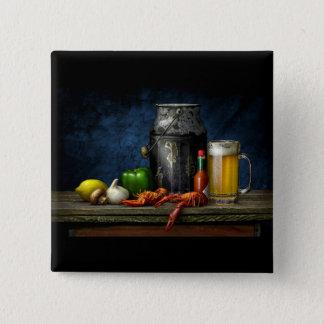 Bóton Quadrado 5.08cm Botão dos lagostins & da cerveja