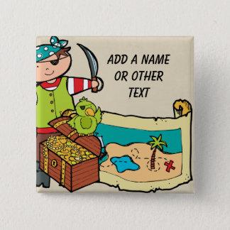 Bóton Quadrado 5.08cm Botão feito sob encomenda do pirata