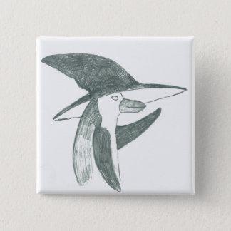 Bóton Quadrado 5.08cm botão feliz do pinguim