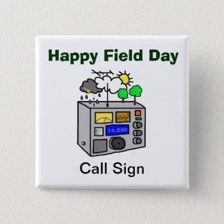 Bóton Quadrado 5.08cm Botão feliz do quadrado do radioamador do dia de