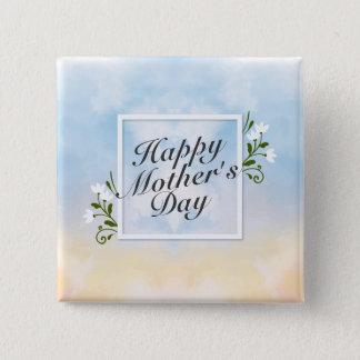 Bóton Quadrado 5.08cm Botão floral do quadro do dia das mães feliz