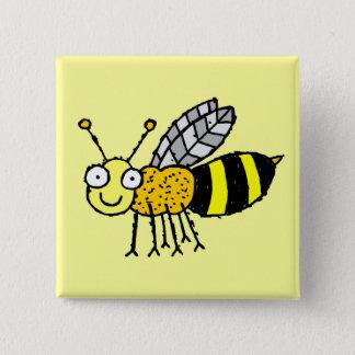 Bóton Quadrado 5.08cm Botão Funky da abelha do mel da fazenda