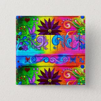 Bóton Quadrado 5.08cm botão groovy do hippie dos anos 70