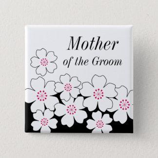 Bóton Quadrado 5.08cm Botão moderno do ensaio da flor de cerejeira