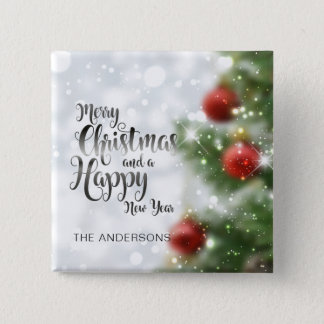 Bóton Quadrado 5.08cm Botão personalizado da árvore   do Feliz Natal