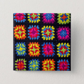 Bóton Quadrado 5.08cm Botão quadrado da avó - botão afegão do Crochet