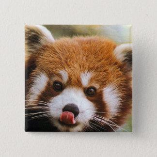 Bóton Quadrado 5.08cm Botão quadrado da panda vermelha