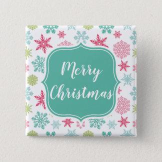 Bóton Quadrado 5.08cm Botão quadrado do Feliz Natal colorido do floco de