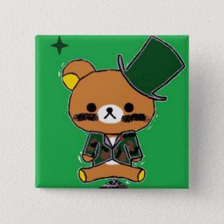Bóton Quadrado 5.08cm Botão quadrado do Tenente-Urso de 2-Polegada