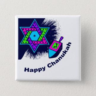 Bóton Quadrado 5.08cm Botão quadrado feliz de Chanukah