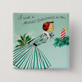 Bóton Quadrado 5.08cm Botão retro da senhora do Natal do vintage
