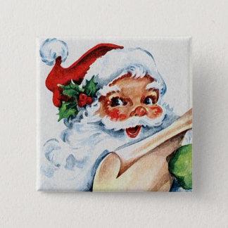 Bóton Quadrado 5.08cm Botão retro do quadrado da arte de Papai Noel do