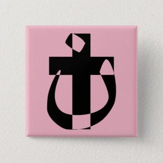 Bóton Quadrado 5.08cm Botão transversal cristão da solidariedade do