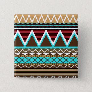 Bóton Quadrado 5.08cm Botão tribal moderno de Brown & de turquesa