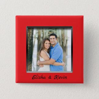 Bóton Quadrado 5.08cm Botão vermelho contratado do quadro do casal com