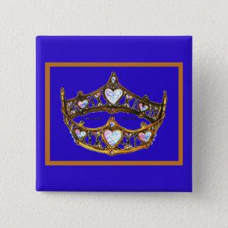 Bóton Quadrado 5.08cm Botão violeta azul da tiara da coroa do ouro dos