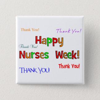 Bóton Quadrado 5.08cm Botões felizes da semana das enfermeiras