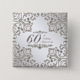 Bóton Quadrado 5.08cm Brilha o 60th botão do aniversário de casamento do