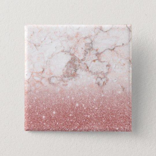 Bóton Quadrado 5.08cm Brilho cor-de-rosa Ombre de mármore branco do ouro