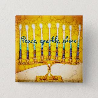 Bóton Quadrado 5.08cm Brilho da faísca da paz, foto amarela de Hanukkah