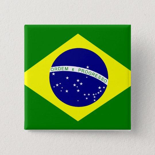 Bóton Quadrado 5.08cm Broche Bandeira do Brasil