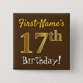 Bóton Quadrado 5.08cm Brown, aniversário do ouro do falso 17o, com nome