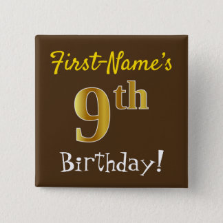 Bóton Quadrado 5.08cm Brown, aniversário do ouro do falso 9o, com nome