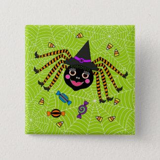 Bóton Quadrado 5.08cm Bruxa da aranha do Dia das Bruxas com doces