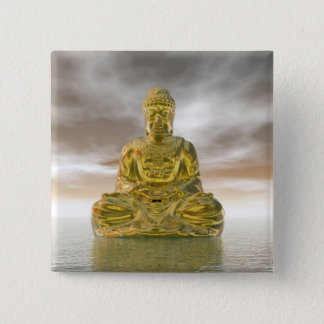 Bóton Quadrado 5.08cm Buddha dourado - 3D rendem
