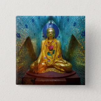 Bóton Quadrado 5.08cm Buddha na alcova ornamentado