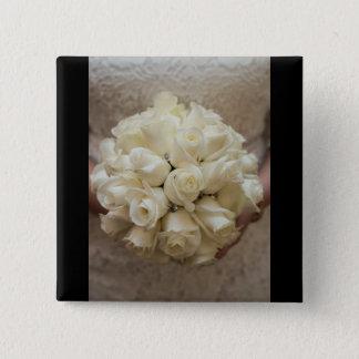 Bóton Quadrado 5.08cm Buquê nupcial branco elegante