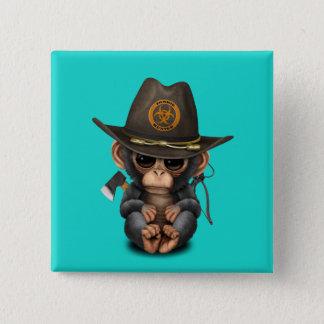 Bóton Quadrado 5.08cm Caçador do zombi do chimpanzé do bebê