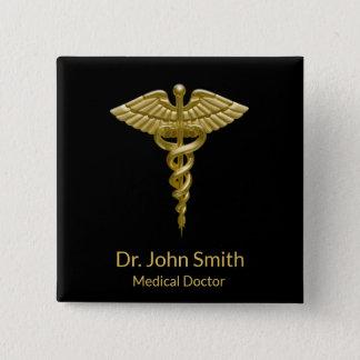 Bóton Quadrado 5.08cm Caduceus médico elegante no preto - botão do ouro