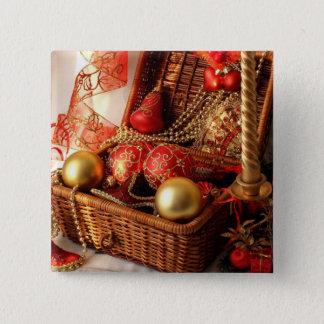 Bóton Quadrado 5.08cm Caixa de Natal - decorações do Natal