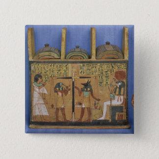 Bóton Quadrado 5.08cm Caixão de Ushabti com uma cena do psychostasis