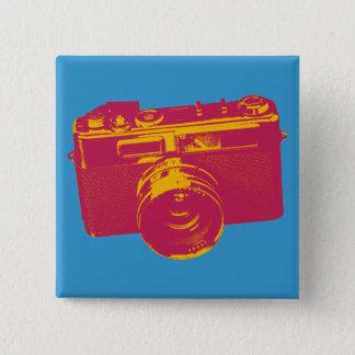 Bóton Quadrado 5.08cm Câmera alaranjada & vermelha do pop art