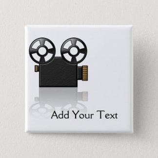 Bóton Quadrado 5.08cm Câmera de filme no preto e ouro no branco
