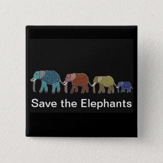Bóton Quadrado 5.08cm Caminhada de néon do elefante africano