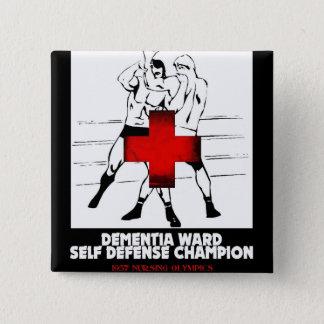 Bóton Quadrado 5.08cm Campeão da autodefesa da divisão da demência
