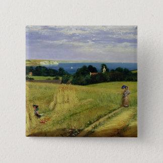 Bóton Quadrado 5.08cm Campo de milho na ilha do Wight