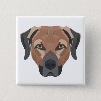 Bóton Quadrado 5.08cm Cão Brown Labrador da ilustração