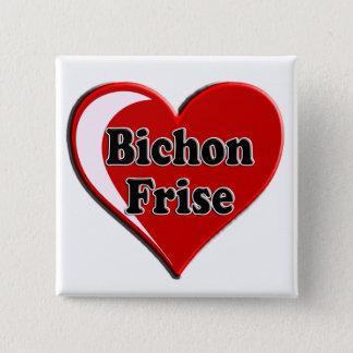 Bóton Quadrado 5.08cm Cão de Bichon Frise no coração para amantes do cão