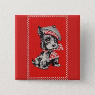 Bóton Quadrado 5.08cm cão do Scottie dos anos 50 no vermelho
