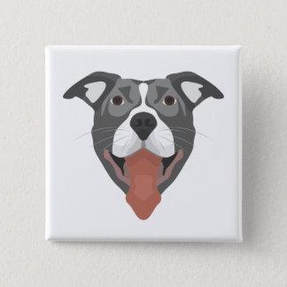 Bóton Quadrado 5.08cm Cão Pitbull de sorriso da ilustração